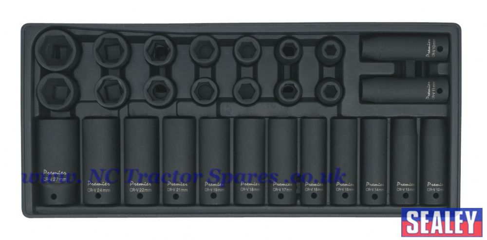 "Tool Tray with Impact Socket Set 28pc 1/2""Sq Drive - Metric"